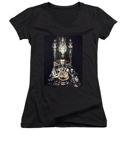 Checker Demon Women's V-Neck T-Shirt (Junior Cut) by Douglas Fromm