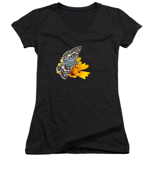 Checkered Skipper - Square - Transparent Women's V-Neck T-Shirt