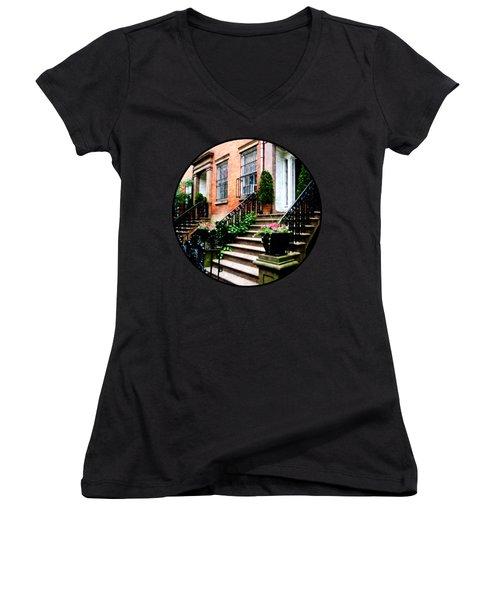 Chelsea Brownstone Women's V-Neck T-Shirt (Junior Cut) by Susan Savad