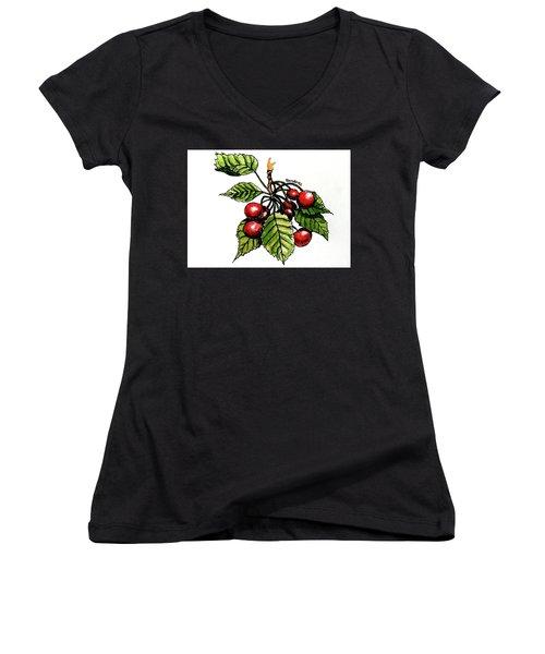 Cherries Women's V-Neck T-Shirt (Junior Cut) by Terry Banderas