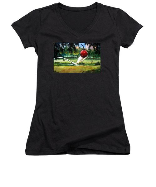 Cherry And Spoon Women's V-Neck T-Shirt (Junior Cut) by Marilyn Jacobson