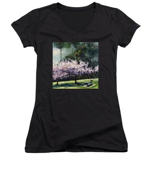 Cherry Blossoms Women's V-Neck T-Shirt