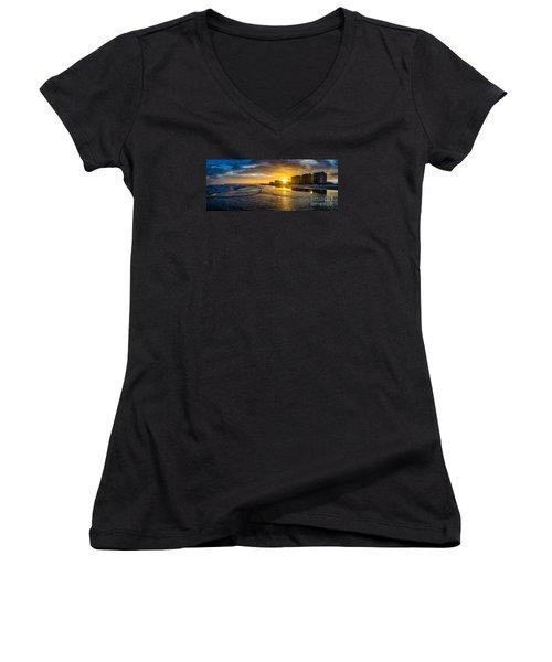 Cherry Grove Sunset Women's V-Neck T-Shirt (Junior Cut) by David Smith