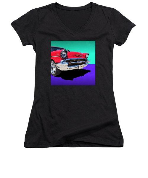Chevrolet Bel Air Color Pop Women's V-Neck