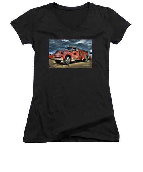 Chevrolet Fire Truck Women's V-Neck (Athletic Fit)