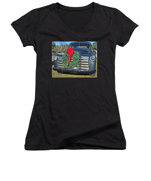 Women's V-Neck T-Shirt (Junior Cut) featuring the photograph Chevy Christmas by Victor Montgomery