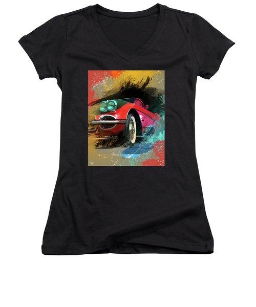 Chevy Corvette Digital Art Women's V-Neck T-Shirt (Junior Cut) by Ron Grafe
