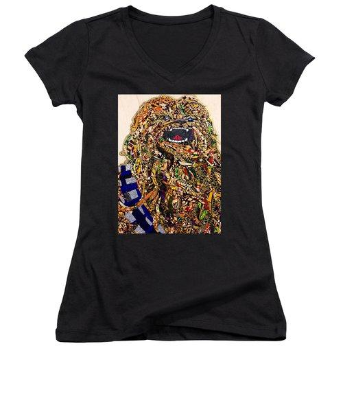 Chewbacca Star Wars Awakens Afrofuturist Collection Women's V-Neck T-Shirt (Junior Cut) by Apanaki Temitayo M