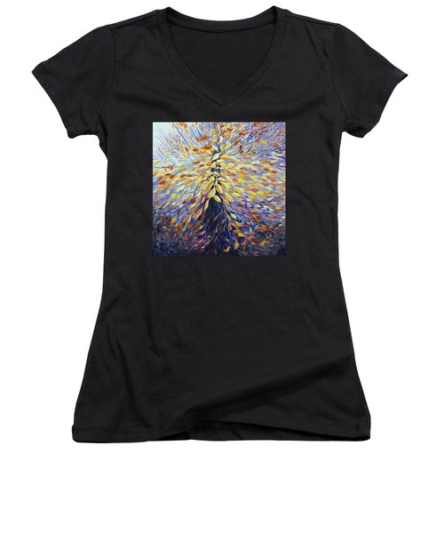 Women's V-Neck T-Shirt (Junior Cut) featuring the painting Chi Of The Mighty Tree by Joanne Smoley