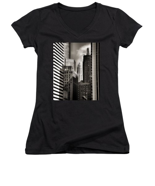 Chicago Architecture - 13 Women's V-Neck T-Shirt (Junior Cut) by Ely Arsha