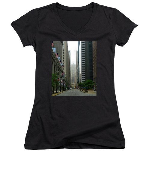 Chicago Architecture - 17 Women's V-Neck T-Shirt (Junior Cut) by Ely Arsha