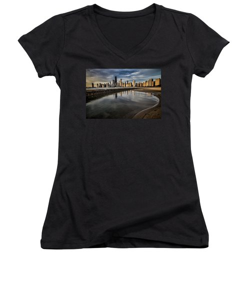 Chicago Beach And Skyline With A Person For Scale Women's V-Neck