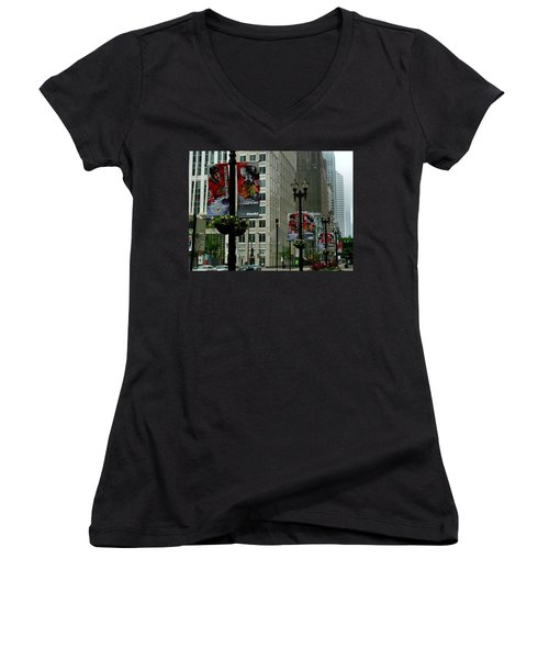 Chicago Blackhawk Flags Women's V-Neck T-Shirt (Junior Cut) by Ely Arsha