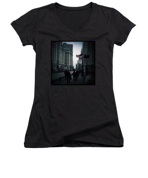 Chicago City Fog Women's V-Neck T-Shirt (Junior Cut) by Frank J Casella