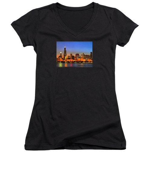 Women's V-Neck T-Shirt (Junior Cut) featuring the digital art Chicago Dusk by Charmaine Zoe