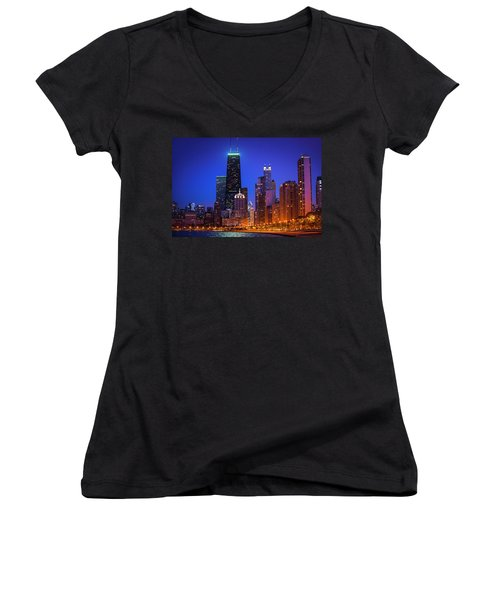 Chicago Shoreline Skyscrapers Women's V-Neck T-Shirt