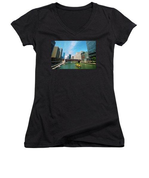 Women's V-Neck T-Shirt (Junior Cut) featuring the photograph Chicago, That Toddlin' Town by Deborah Smolinske
