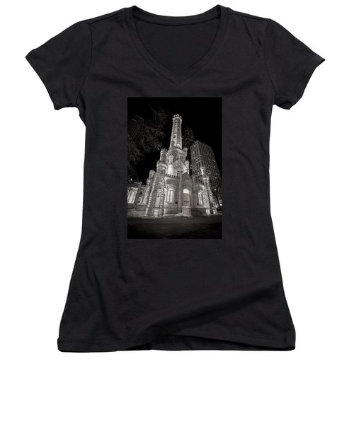 Chicago Water Tower Women's V-Neck (Athletic Fit)