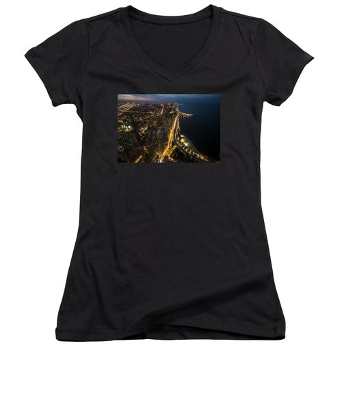 Chicago's North Side From Above At Night  Women's V-Neck