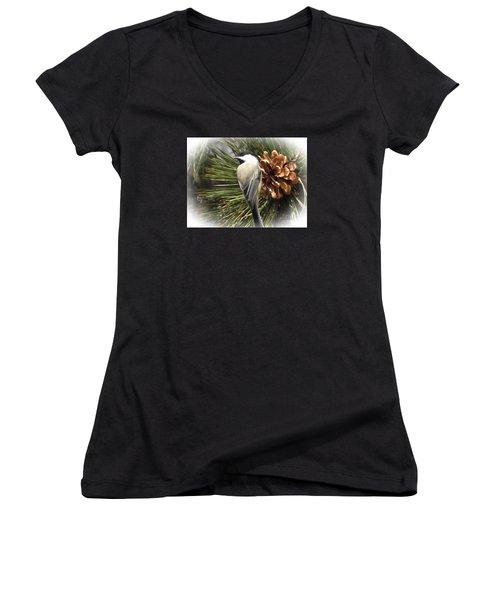 Chickadee Women's V-Neck T-Shirt