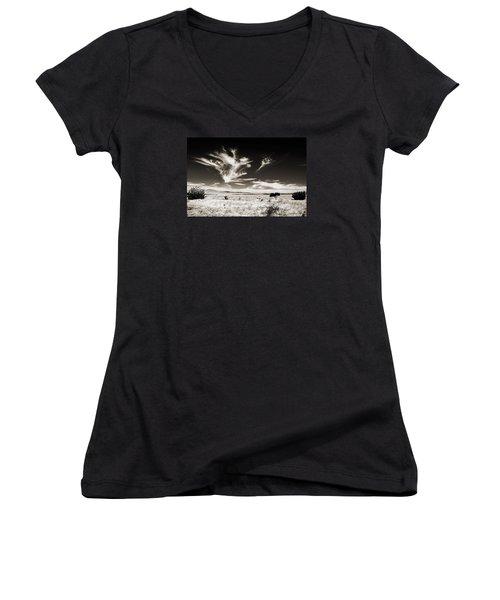 Chihuahuan Desert In Sepia Women's V-Neck T-Shirt (Junior Cut) by Allen Sheffield