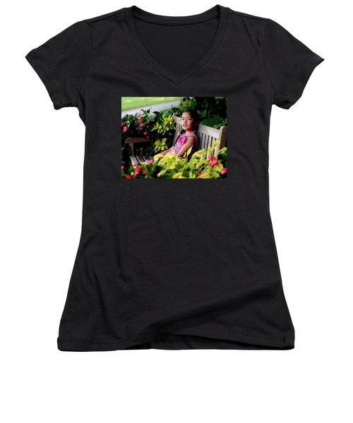 Women's V-Neck T-Shirt (Junior Cut) featuring the photograph Children by Diana Mary Sharpton
