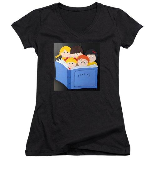 Children Reading Book Women's V-Neck T-Shirt