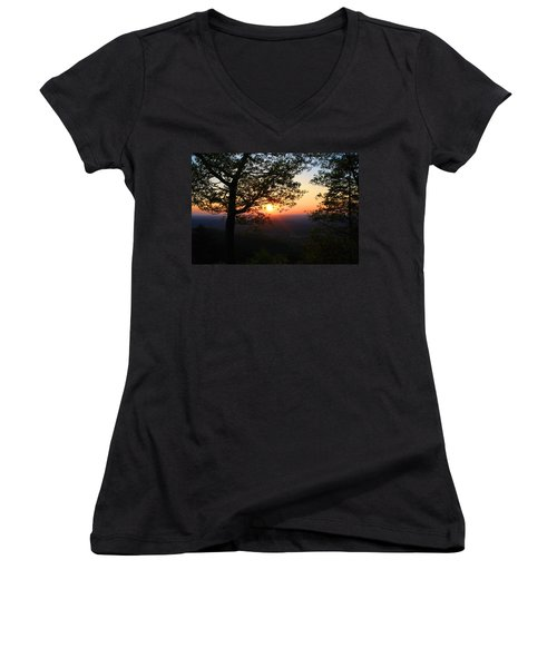 Women's V-Neck T-Shirt (Junior Cut) featuring the photograph Chilhowee Sunset by Kathryn Meyer