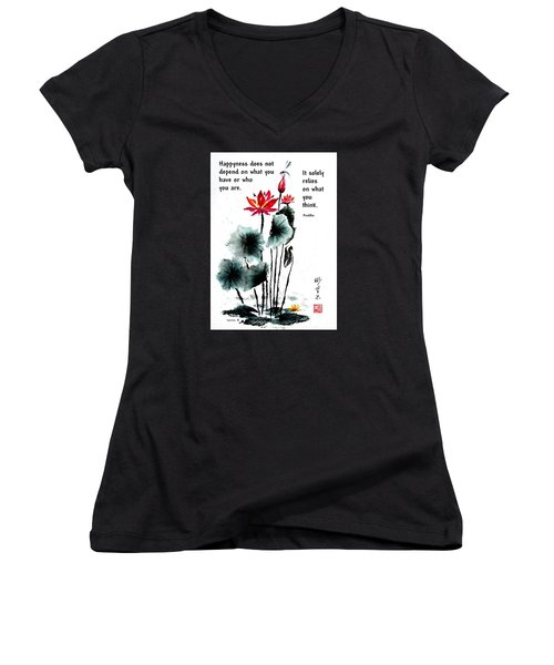 China Garden With Buddha Quote Women's V-Neck (Athletic Fit)