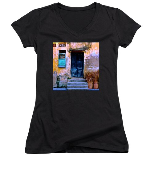 Chinese Facade Of Hoi An In Vietnam Women's V-Neck