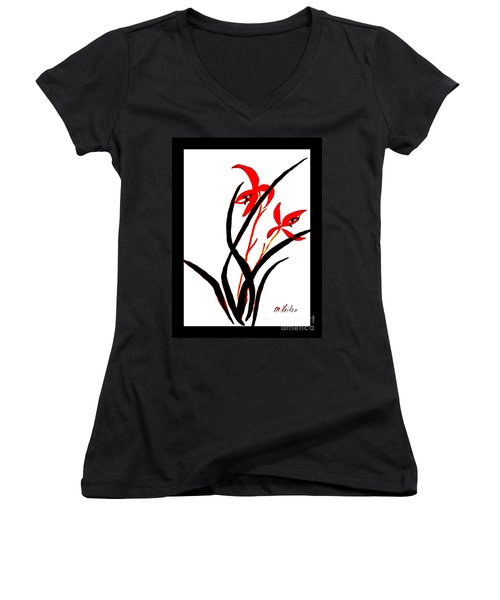 Chinese Flowers Women's V-Neck T-Shirt (Junior Cut) by Marsha Heiken