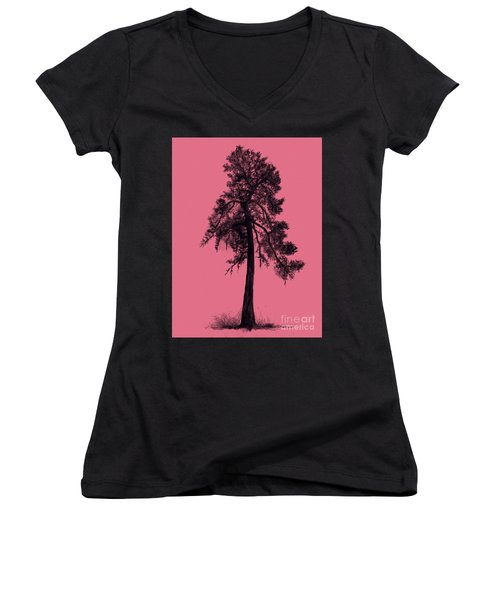 Women's V-Neck T-Shirt (Junior Cut) featuring the drawing Chinese Pine Tree by Maja Sokolowska