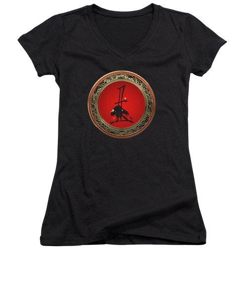 Chinese Zodiac - Year Of The Ox On Black Velvet Women's V-Neck T-Shirt