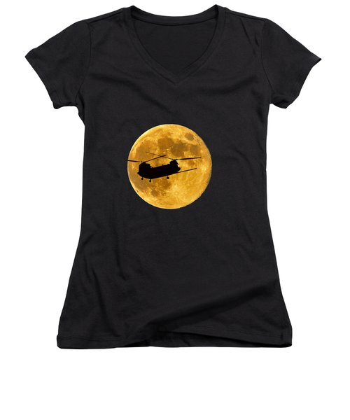 Chinook Moon Color .png Women's V-Neck T-Shirt (Junior Cut) by Al Powell Photography USA