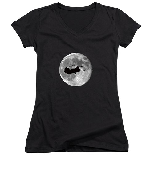 Chinook Moon .png Women's V-Neck T-Shirt (Junior Cut) by Al Powell Photography USA