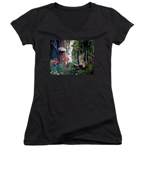 Chipmunk On A Log Women's V-Neck T-Shirt (Junior Cut) by Renate Nadi Wesley