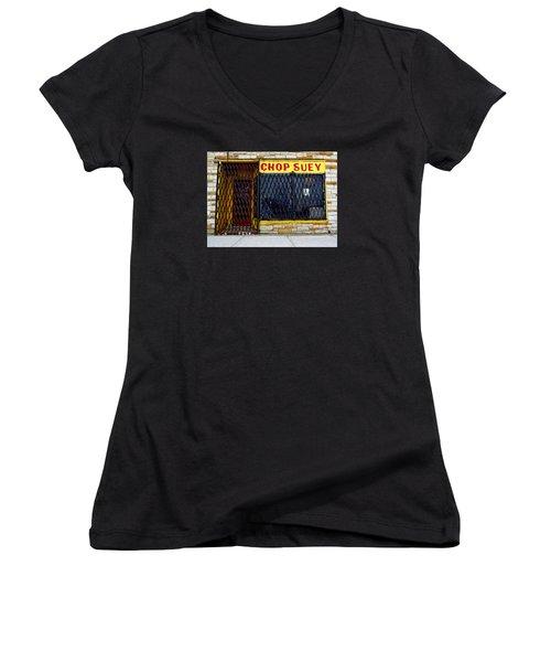 Chop Suey Women's V-Neck T-Shirt (Junior Cut) by David Gilbert
