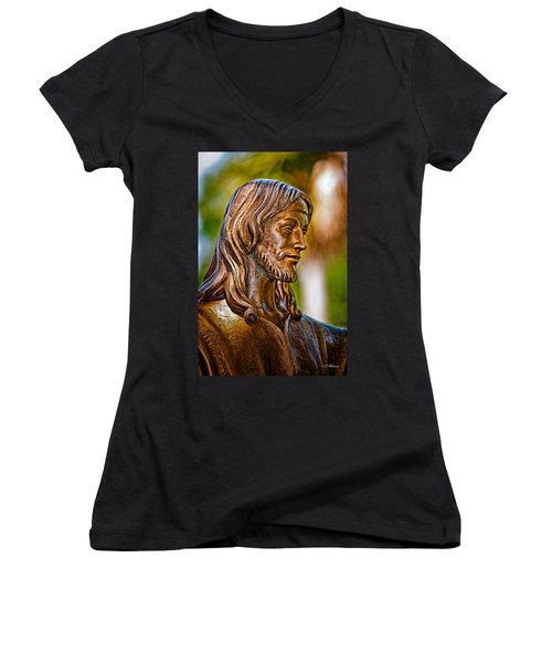 Christ In Bronze Women's V-Neck T-Shirt (Junior Cut) by Christopher Holmes
