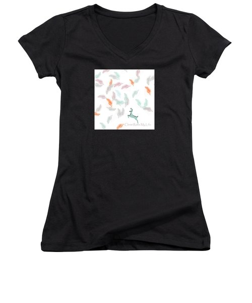 Women's V-Neck T-Shirt (Junior Cut) featuring the digital art Christ Rules My Life by Trilby Cole