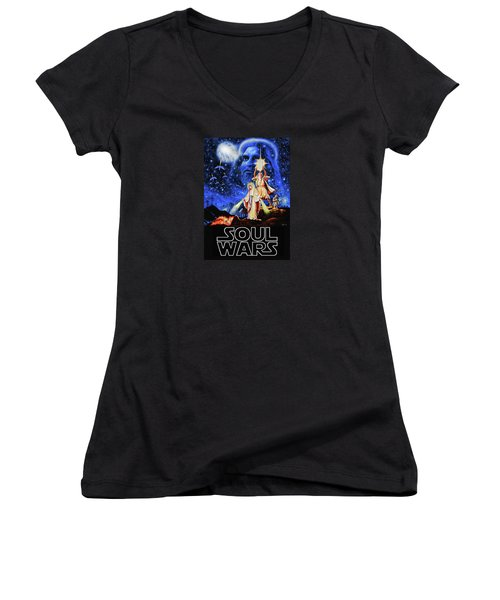 Women's V-Neck T-Shirt (Junior Cut) featuring the painting Christian Star Wars Parody - Soul Wars by Dave Luebbert