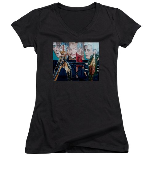 Christine Anderson Concert Fantasy Women's V-Neck T-Shirt (Junior Cut) by Bryan Bustard