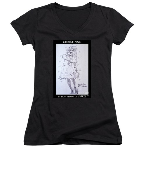 Christinne Women's V-Neck T-Shirt (Junior Cut) by Don Pedro De Gracia