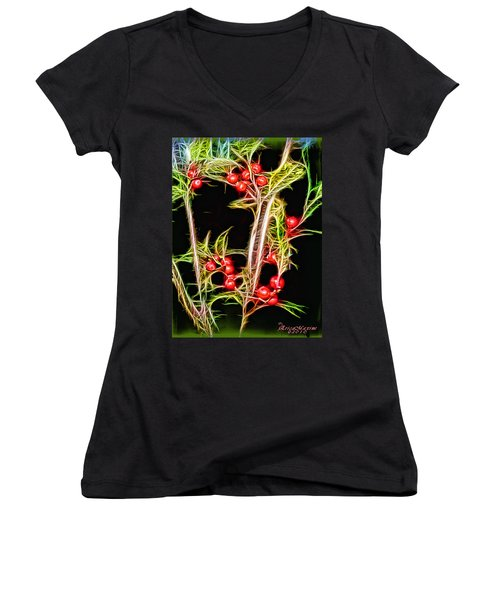 Christmas Berries Women's V-Neck T-Shirt (Junior Cut) by EricaMaxine  Price