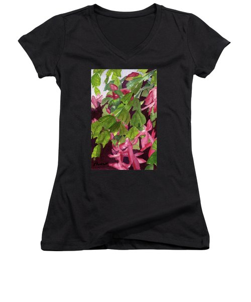 Women's V-Neck T-Shirt (Junior Cut) featuring the painting Christmas Cactus by Lynne Reichhart