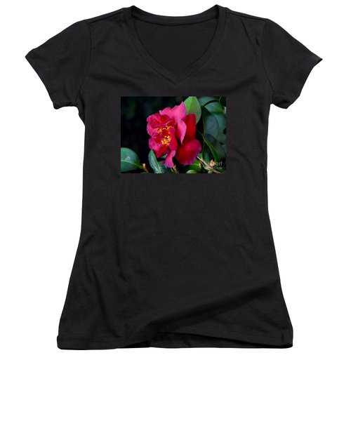 Women's V-Neck T-Shirt (Junior Cut) featuring the photograph Christmas Camellia by Marie Hicks