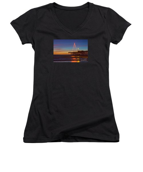 Christmas Lights On The Pismo Pier Women's V-Neck (Athletic Fit)