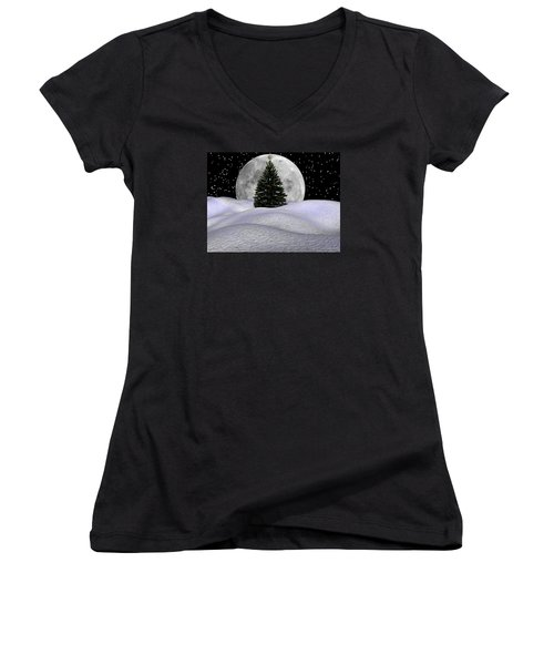 Christmas Moon Women's V-Neck T-Shirt (Junior Cut) by Michele Wilson
