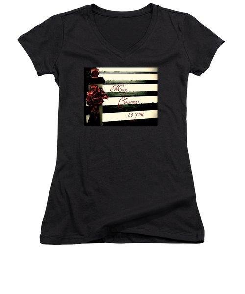 Christmas No. Eleven Women's V-Neck T-Shirt (Junior Cut) by Chris Berry