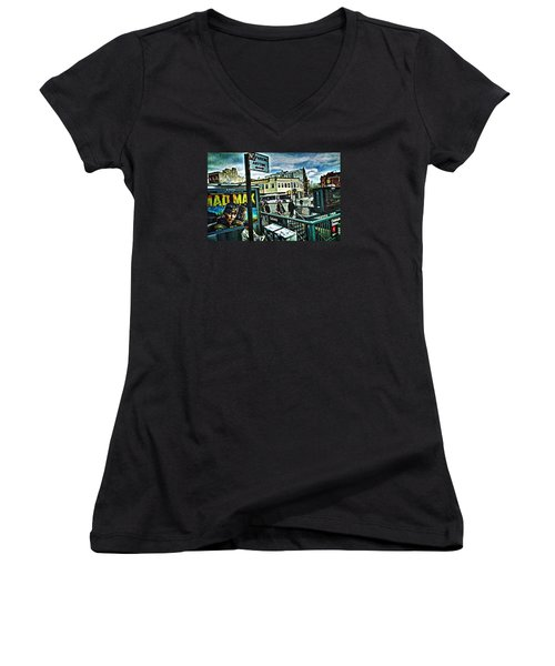 Christopher Street Greenwich Village  Women's V-Neck T-Shirt (Junior Cut) by Joan Reese