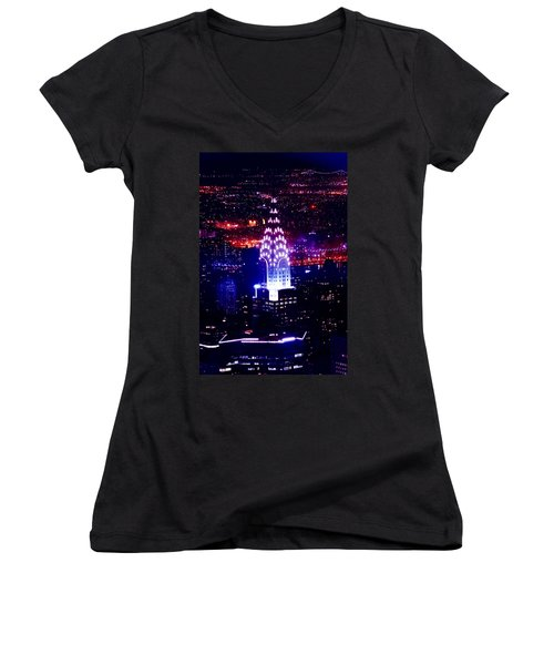 Chrysler Building At Night Women's V-Neck T-Shirt